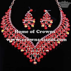 Wholesale Pink Crystal Diamond Necklace Sets