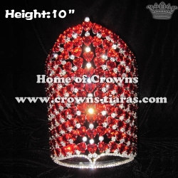 10in Height Crystal Pageant Crowns With Heart Shaped Diamonds