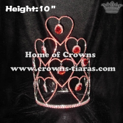 10in Height Crystal Rhinestone Valentine Heart Crowns