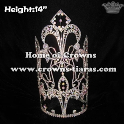 14in Height Large Tall Pageant Crystal Crowns With AB Diamonds