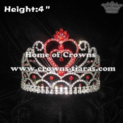 Red Rhinestones Heart Shaped Valentines Pageant Crowns