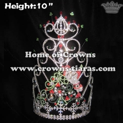 10in Height Crystal Christmas Tree Pageant Crowns