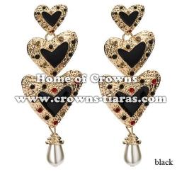 Heart Shaped Large Alloy Crystal Earrings