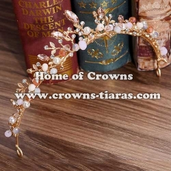 Beauty Gold Pink Diamond Princess Party Tiaras