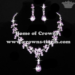 Wholesale Flower Shaped Crystal Queen Necklace Set