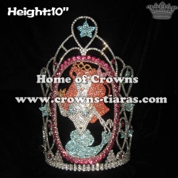 10in Big Tall Mermaid Ariel Wholesale Crystal Crowns