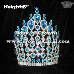 8inch Height Blue Diamond Pageant Crowns