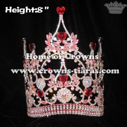 8in Height Red Pink Big Diamond Heart Shaped Pageant Queen Crowns