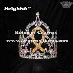 6inch Crystal Gold Ribbon Crowns