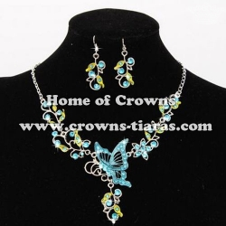 Fashion Alloy Crystal Butterfly Necklace Sets