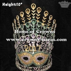 10in Height Mask Shaped Pageant Crowns With Feathers