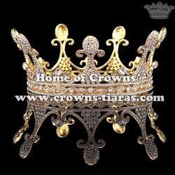 Wholesale Alloy Crystal Pageant Full Round Queen Crowns