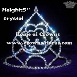All Clear Crystal Pageant Rose Shaped Crowns