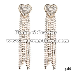 Crystal Heart Shaped Earrings With Long Chains