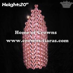 Big Pink Heart Shaped Crystal Rhinestone Crowns