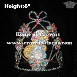 6in Crystal 3D Flower Blue Fairy Princess Crowns