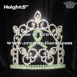5in Height Crystal Green Ribbon Pageant Crowns