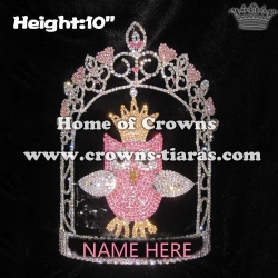 10in Height Crystal Custom Pink Owl Pageant Crowns
