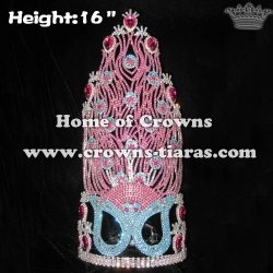 Large Tall Rhinestone Mask Peacock Pageant Crowns