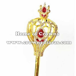 Rhinestone Pageant Scepter With Red Diamonds