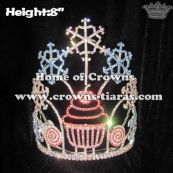 8in Height Custom Cupcake Snowflake Pageant Crowns Light Up Crowns