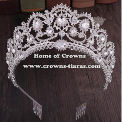 Crystal Colored Diamond Pageant Crowns With Combs