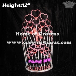 12in Height Valentines Cupids Heart Pageant Crowns In Red Pink Rhinestones