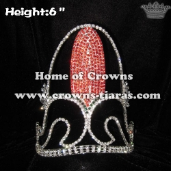 Corn Shaped Crystal Pageant Crowns which In 6inch Height