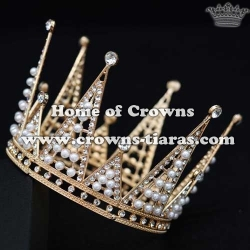 Full Round Bridal Crown With Pearls