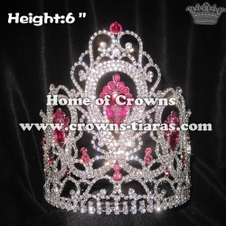 6in Height Pageant Stock Crowns With Large Pink Diamonds