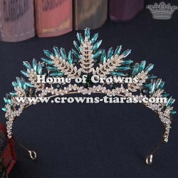 Alloy Crystal Red Leaf Shaped Wedding Queen Crowns