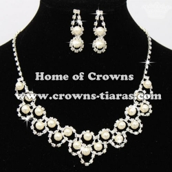 Rhinestone Bridal Pearl Necklace Sets