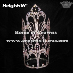 Wholesale 16in Big Crystal Tall Pageant Crowns