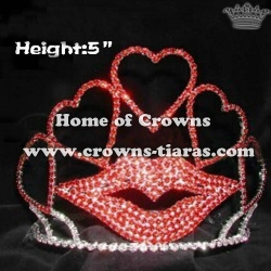 Big Love Heart Shaped Valentines Crowns with Red Lips