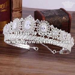 Luxury Crystal Wedding Queen Crowns With Zircon Diamonds
