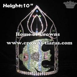 10in Big Tall Fish Shape Crystal Rhinestone Pageant Crowns