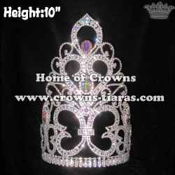 10in Height Crystal Diamonds Pageant Queen Crowns