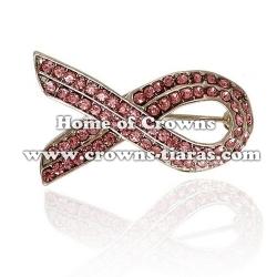 Crystal Pink Ribbon Brooches Sash Pins