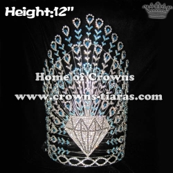 12in Height Crystal Peacock Pageant Crowns With Diamonds