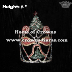 Wholesale Candy Crystal Crowns With Christmas Tree In 8in Height