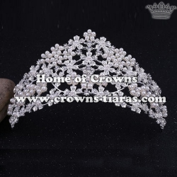 Wholesale Flower Shaped Tiaras With Pearls