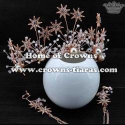 Crystal Bridal Wedding Crowns With Earrings