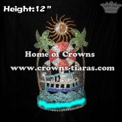 12in Height Large Tall Summer Pageant Crowns With Sun On Top