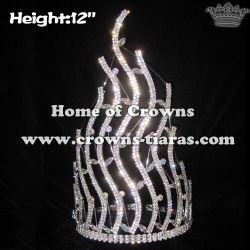 12in Height Rhinestone Pageant Crowns With AB Diamonds