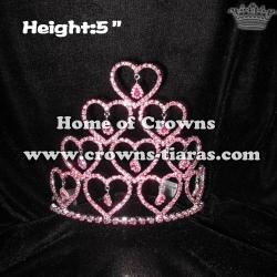 Crystal Rhinestone Red Heart Valentine Crowns