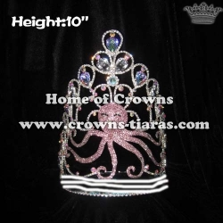 Wholesale Crystal Octopus Pageant Crowns With AB Diamonds
