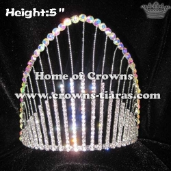 Rainbow Pageant Crown With AB Clear Crystal