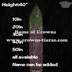 40in Height Large Tall Pageant Queen Crowns With Purple Diamonds