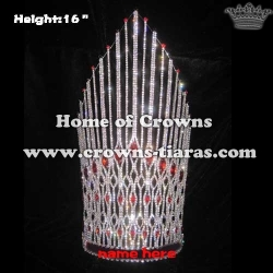 Crystal Pageant Queen Crowns With Large Red Diamond