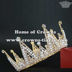 Crystal Full Round Pageant Crowns With Pearls